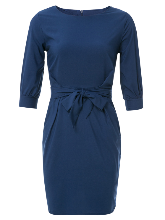 fancy Boat Neck Sheath Dress With Belt - PURPLISH BLUE M