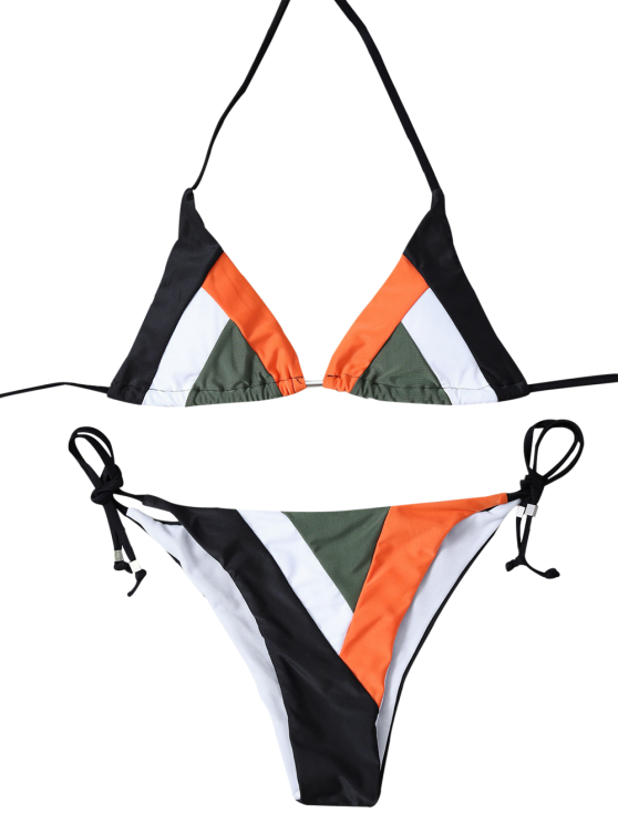 Color Block Geometric Bikini Set - BLACK M Mobile