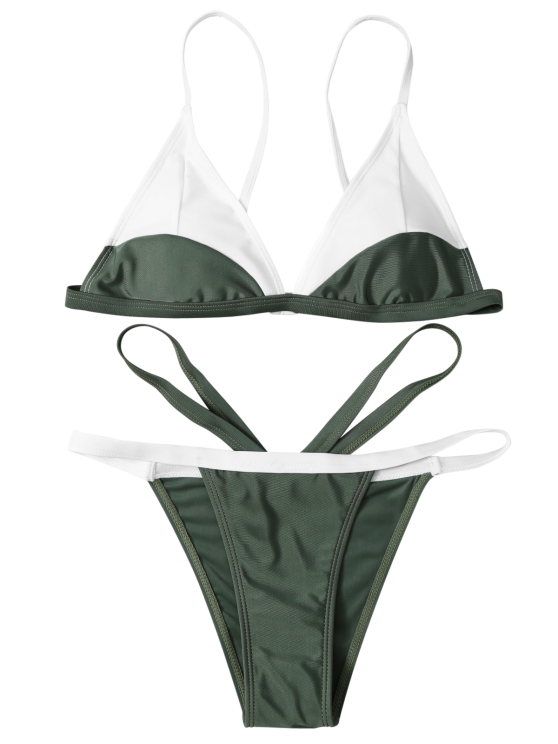 High Cut Color Block Bathing Suit - ARMY GREEN L Mobile