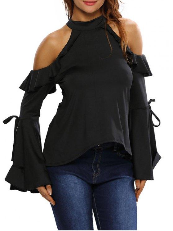 Campana de la manga del hombro frío de las colmenas de la camiseta - Negro L
