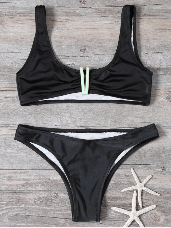 Cropped Patched Bikini Set - BLACK M Mobile