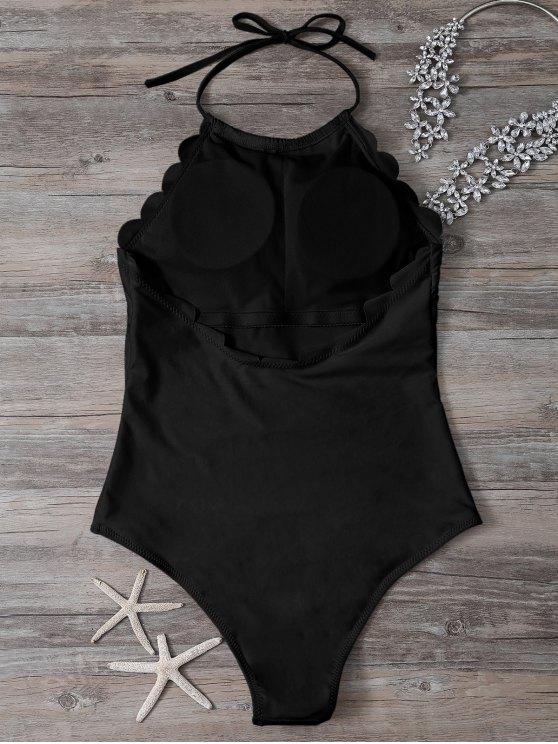 Scalloped High Neck Swimwear - BLACK M Mobile