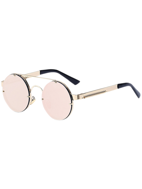 Golden Crossbar Retro Round Mirrored Sunglasses - PINK  Mobile