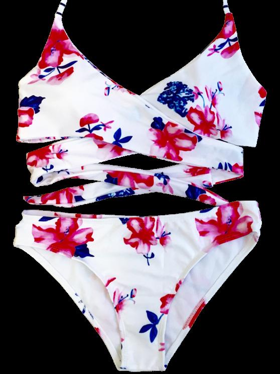 Floral Halter Wrap Bikini Set - FLORAL M Mobile