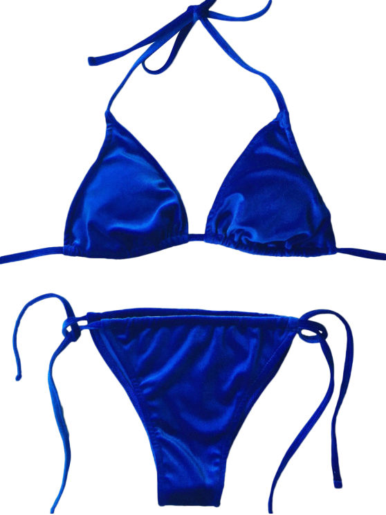 Velvet String Bikini Set - BLUE L Mobile