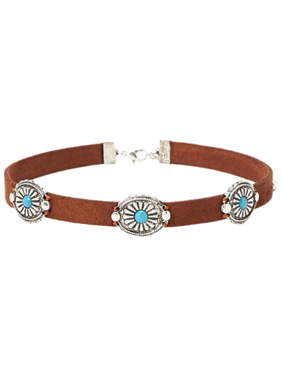 Faux Leather Blossom Choker - BROWN  Mobile
