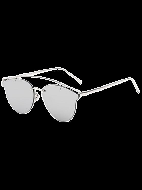 unique Crossbar Mirrored Butterfly Sunglasses - SILVER