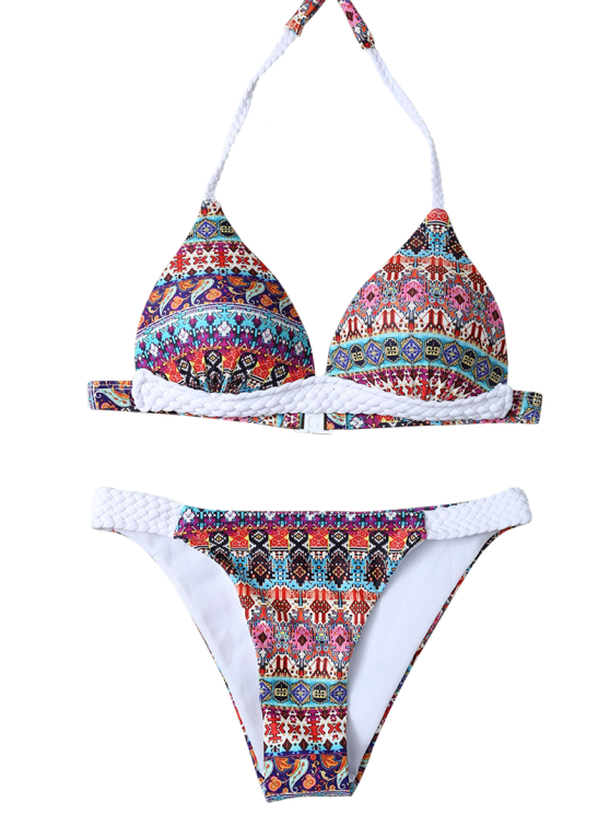 Halter Ethnic Printed Bikini Set - RED M Mobile