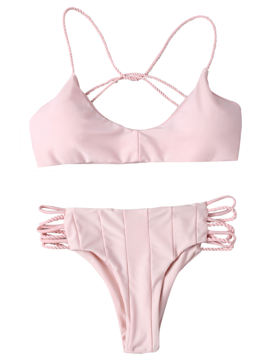 Strappy Cross Criss Bikini Set - PINK M Mobile