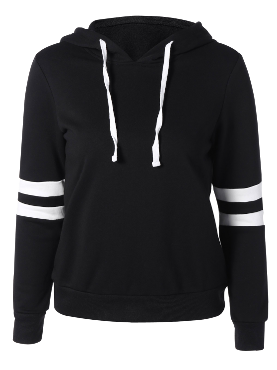 fashion Sports Color Block Hoodie - BLACK S