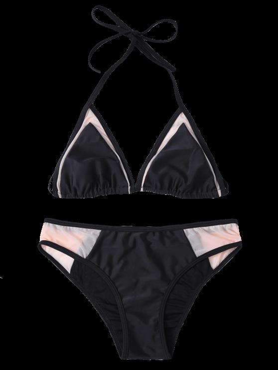Mesh Panel Halter Swimsuit - BLACK L Mobile