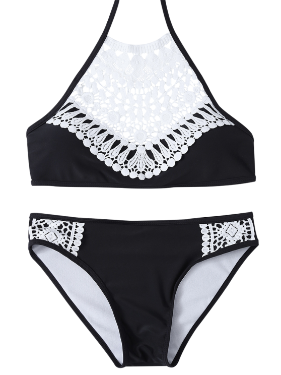 Crochet Trim High Neck Bikini - BLACK M Mobile