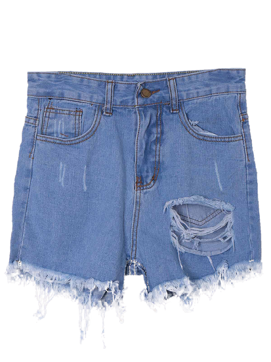 Solid Color Broken Hole High-Waist Denim Shorts - LIGHT BLUE XL Mobile