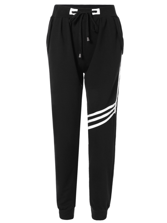 Striped Drawstring Sweatpants - BLACK ONE SIZE Mobile