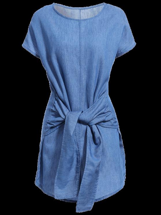 Solid Color Tied Round Neck Bat-Wing Sleeve Denim Dress - DEEP BLUE M Mobile