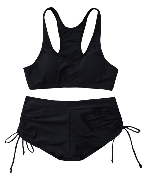 Lace Up Padded Sporty Bikini Set - BLACK L Mobile