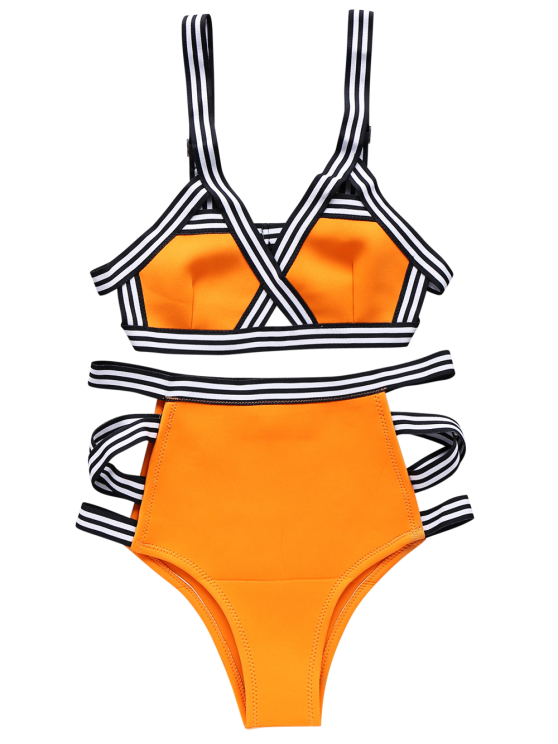 Neoprene Bandage Bikini Set - ORANGE M Mobile