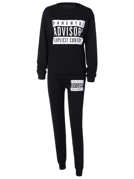 Letter Sweatshirt and Drawstring Sports Pants - BLACK S Mobile