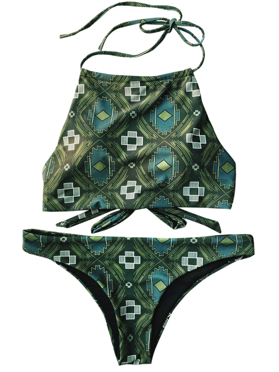 Tile Print High Neck Bikini - OLIVE GREEN XL Mobile