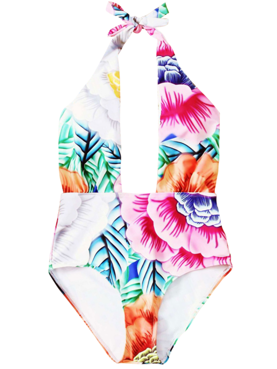Cut Out Printed Halter One-Piece Swimwear - PINK M Mobile
