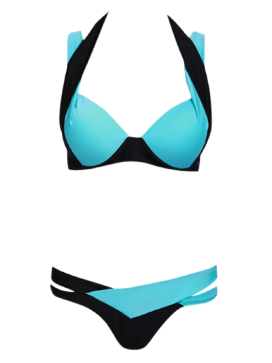 Spaghetti Strap Color Block Criss-Cross Bathing Suit - LAKE BLUE S Mobile