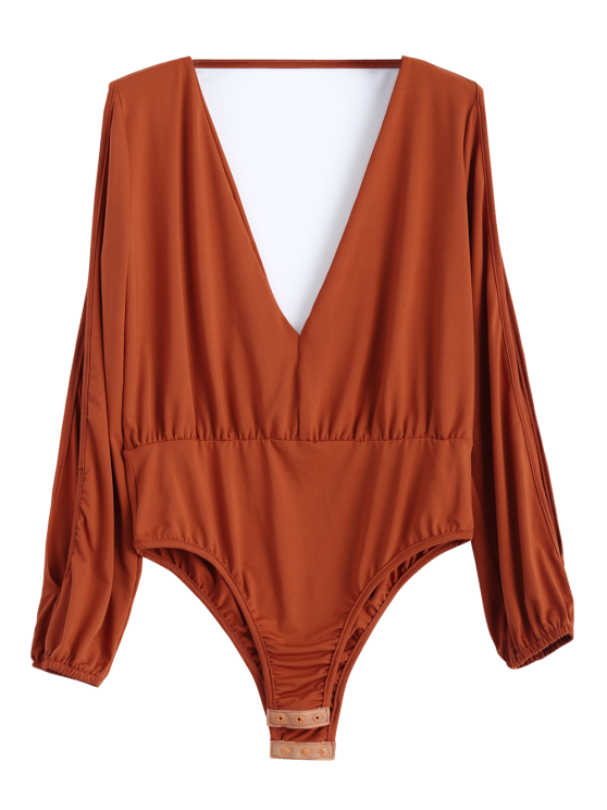 Split Cold Shoulder Bodysuit - ORANGEPINK XL Mobile