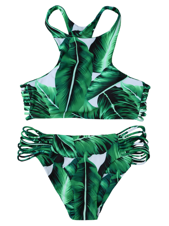 Leaf Print High Neck Stringy Bikini - GREEN L Mobile