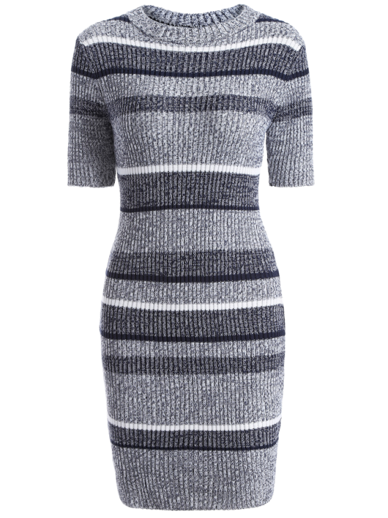 lady Short Sleeve Bodycon Sweater Dress - COLORMIX ONE SIZE