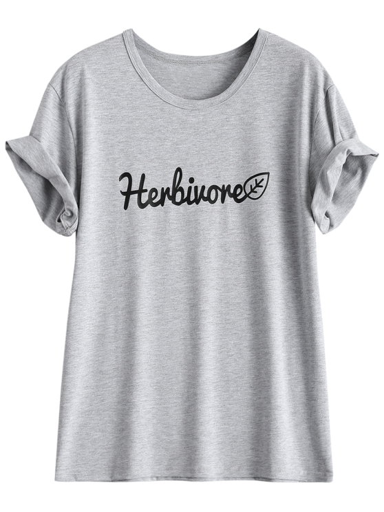 Short Sleeve Herbiuone Boyfriend T-Shirt - GRAY 2XL Mobile