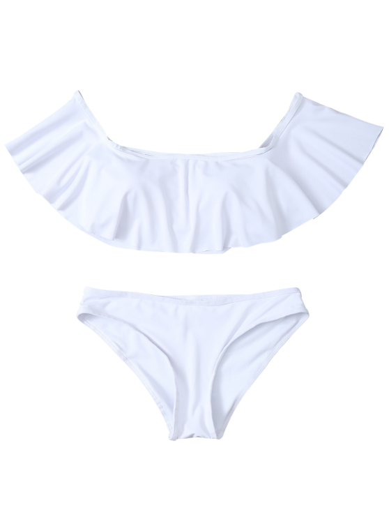 Ruffles Off Shoulder Bikini Swimwear - WHITE M Mobile