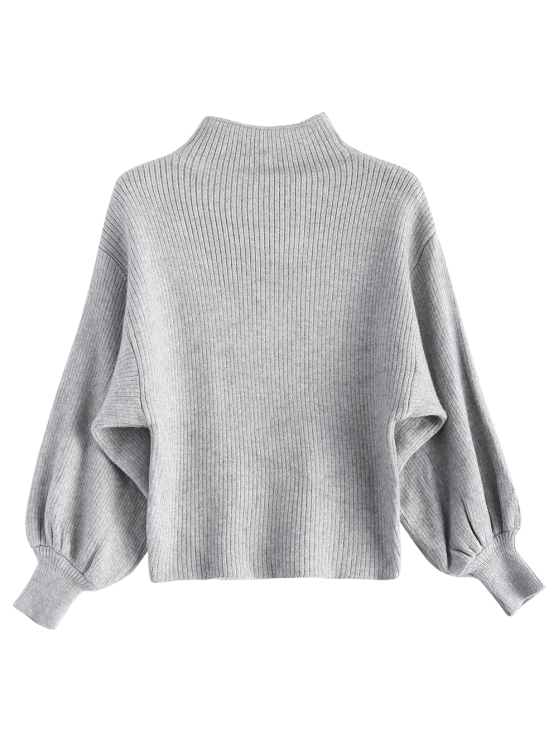 Ribbed Puff Sleeve Mock Neck Sweater - LIGHT GRAY ONE SIZE Mobile