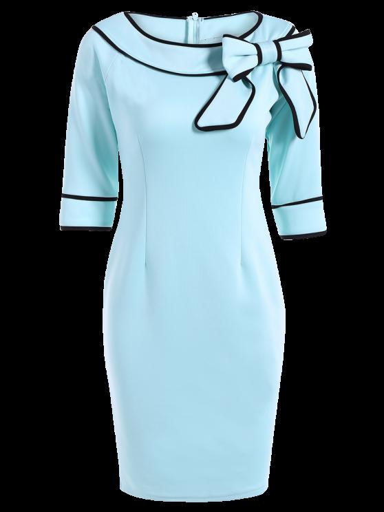 fancy Slash Neck Bowknot Pencil Dress - LIGHT BLUE S