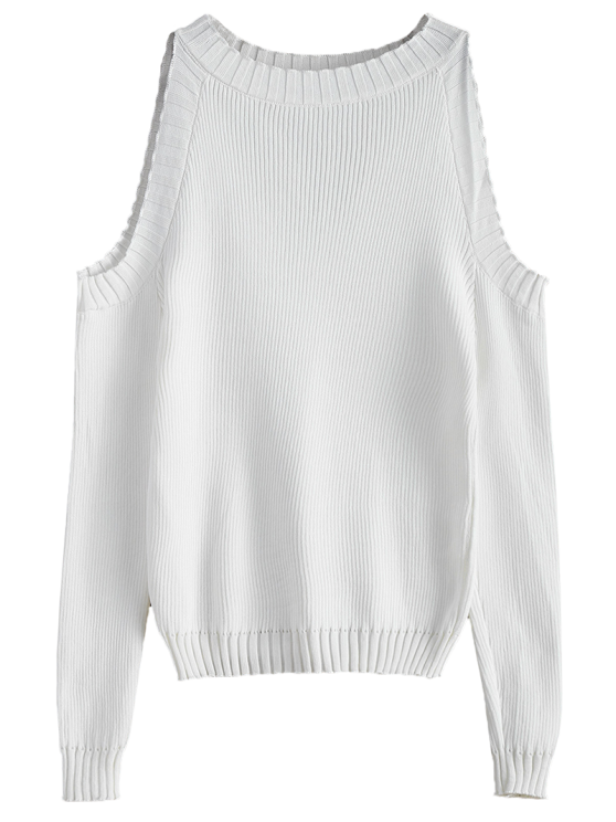 Cutout Open Shoulder Sweater - WHITE ONE SIZE Mobile