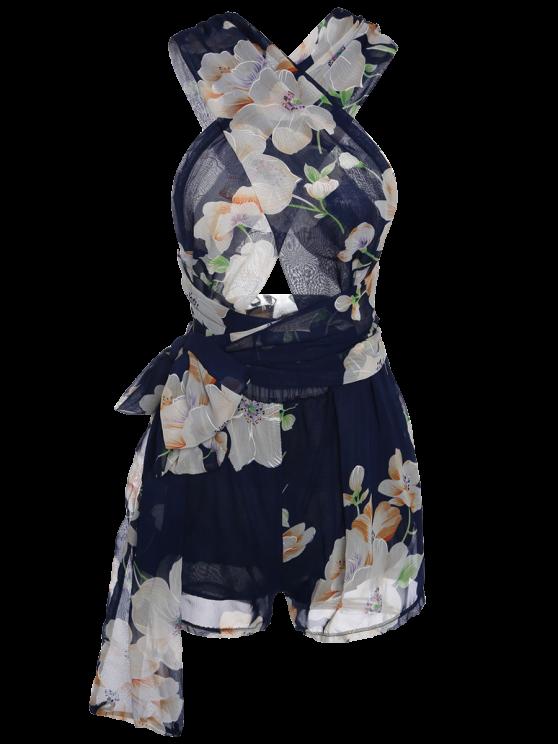 Plunging Neck Floral Print Self-Tie Romper - PURPLISH BLUE M Mobile