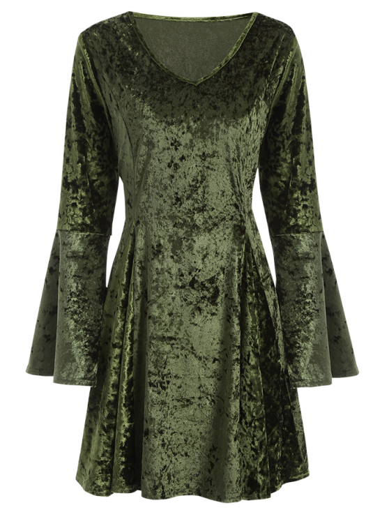 Bell Sleeve Fit and Flare Velvet Dress - GREEN S Mobile