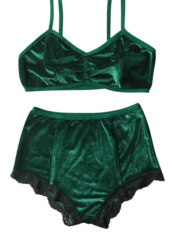 Lace Hem High Waisted Velvet Bra Set - BLACKISH GREEN M Mobile