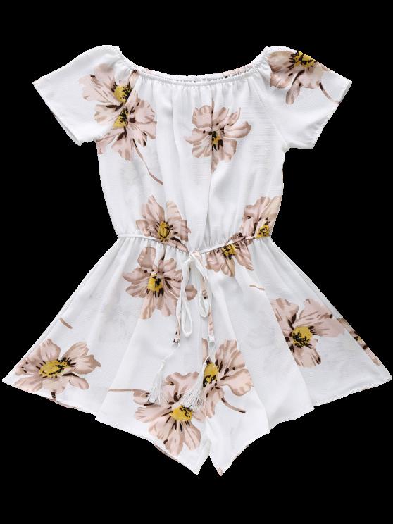 Floral Print Off The Shoulder Drawstring Romper - WHITE L Mobile