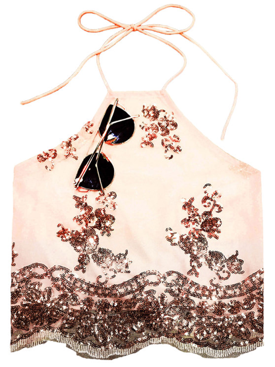 Sequined Backless Halter Top - NUDE S Mobile