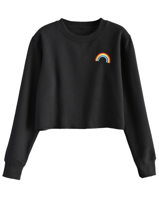 Rainbow Embroidered Cropped Sweatshirt - BLACK L Mobile