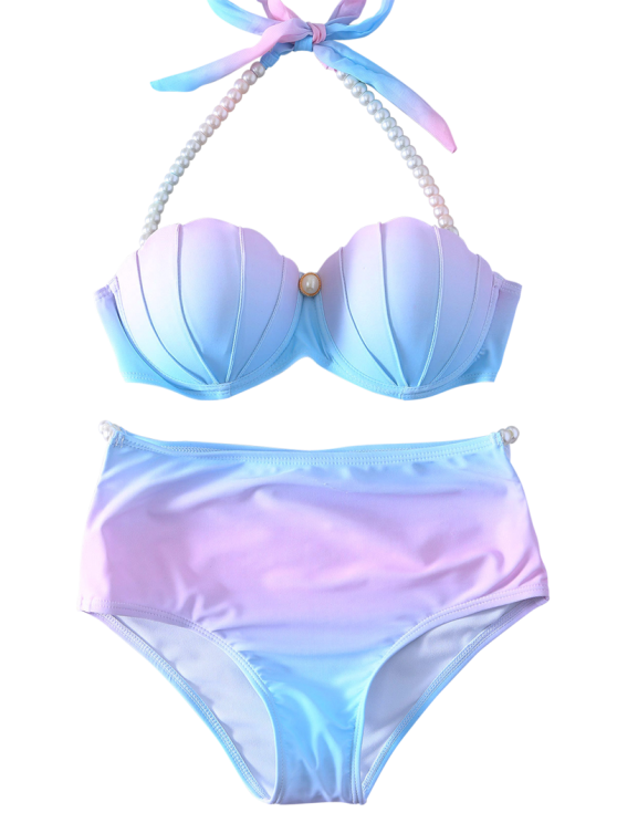 Pearl Halter Ombre Underwire Seashell Bikini - BLUE AND PINK XL Mobile