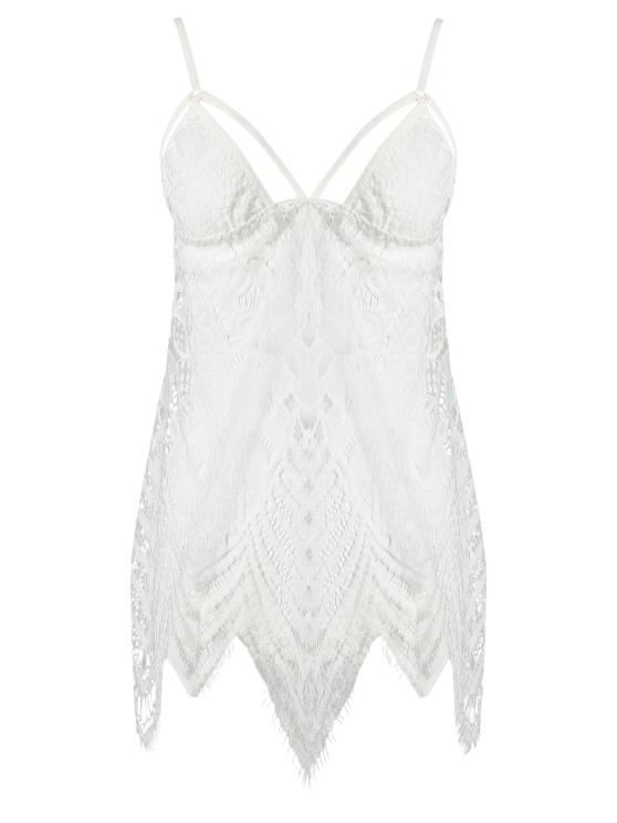 Lace Slip Asymmetric Babydoll and Briefs - WHITE ONE SIZE Mobile