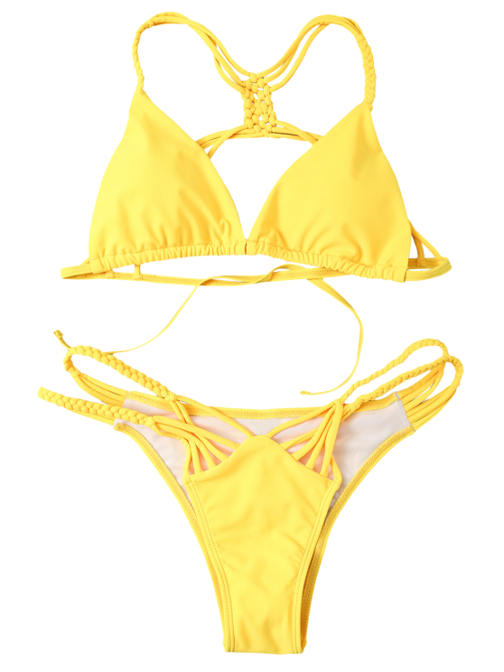 Strappy Cut Out Bikini Set - YELLOW L Mobile