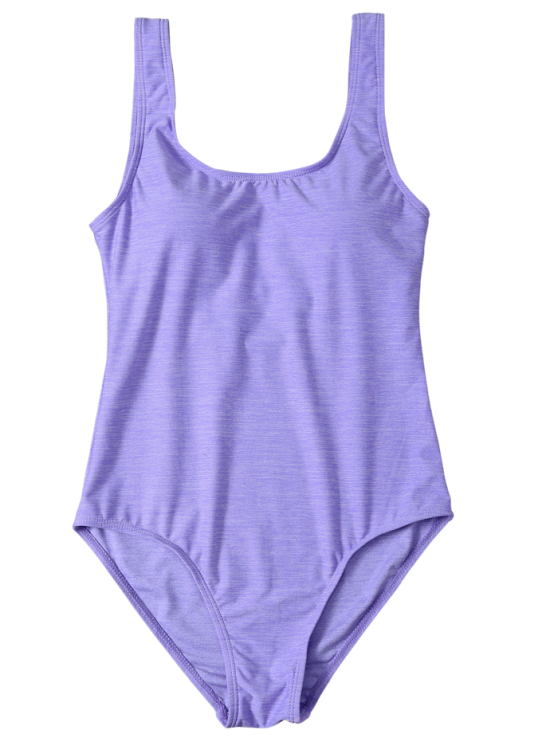 Backless Straps Padded Swimwear - PURPLE L Mobile
