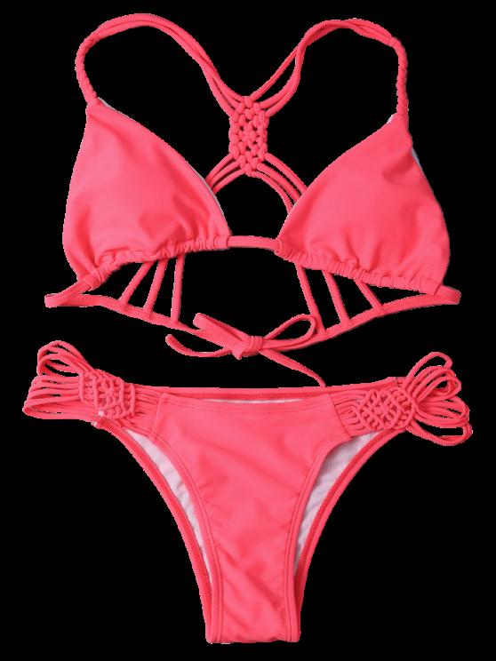 String Cut Out Strappy Bikini Set - RED L Mobile