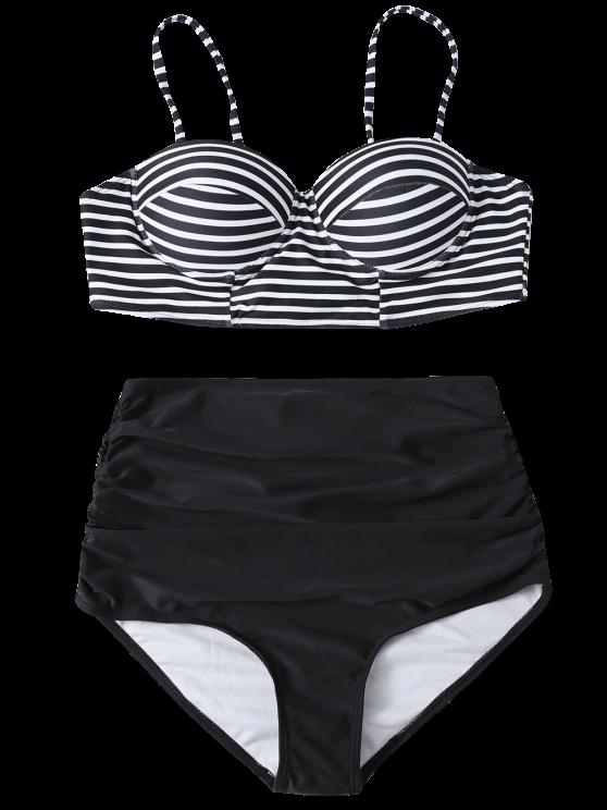 High Waist Striped Bikini Set - BLACK S Mobile