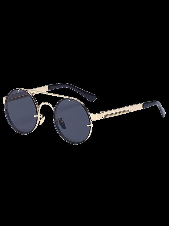 De oro las barras transversales gafas de sol redondas retro - Dorado