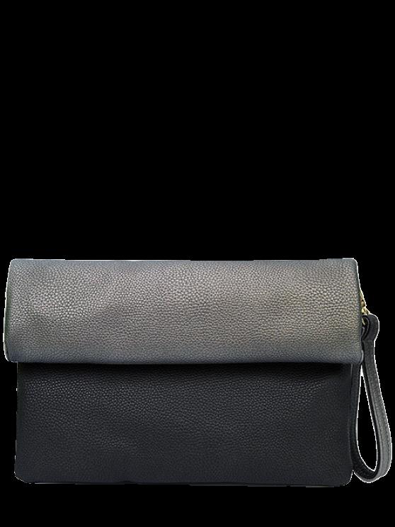 trendy Color Block PU Leather Clutch Bag - BLACK