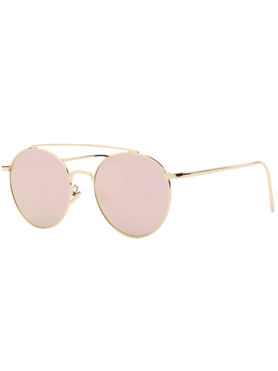 Metal Frame Mirrored Sunglasses - ROSE GOLD  Mobile
