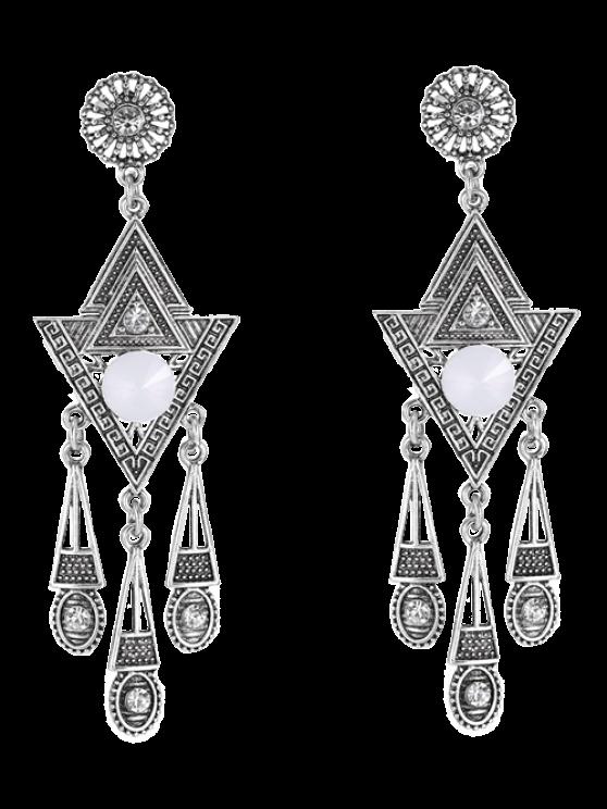 lady Pair of Triangle Rhinestone Drop Earrings - SILVER