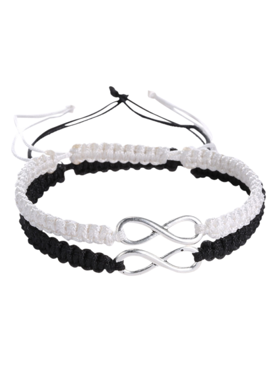 trendy Infinity Woven Bracelets - WHITE AND BLACK